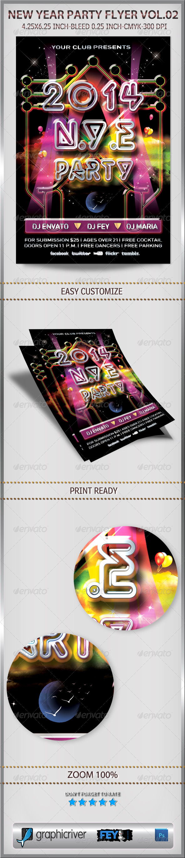 New Year Party Flyer Vol.02 - Flyers Print Templates