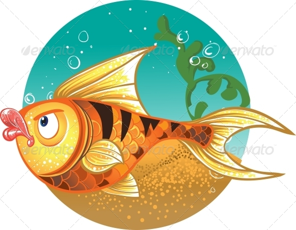 Gold Fish with Tiger Stripes - Animals Characters