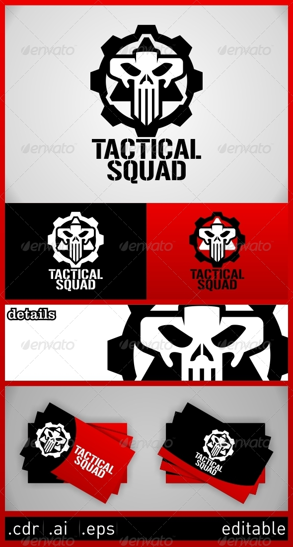 Tactical Squad Skull Logo Template - Humans Logo Templates
