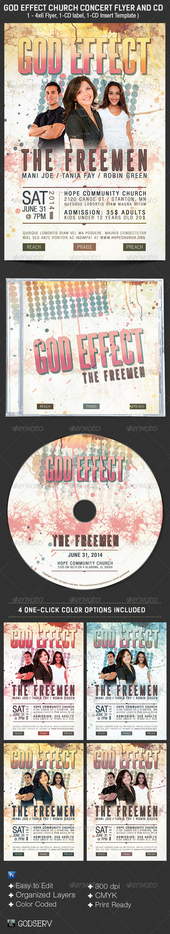 God Effect Church Concert Flyer CD Template - Church Flyers
