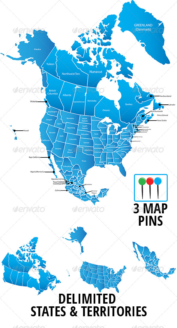North America Map Vector  - Conceptual Vectors
