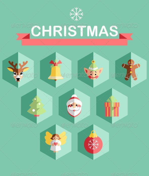 Flat Christmas Icons - Icons