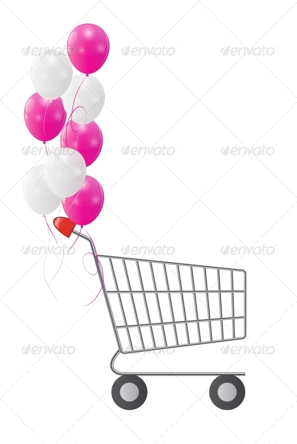 Vector Illustration of Empty Supermarket Shopping - Retail Commercial / Shopping