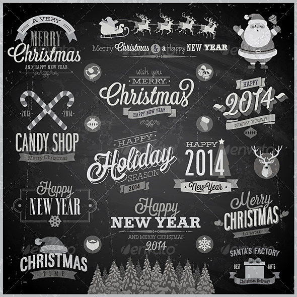 Christmas Set of Labels and Emblems on Chalkboard - Christmas Seasons/Holidays