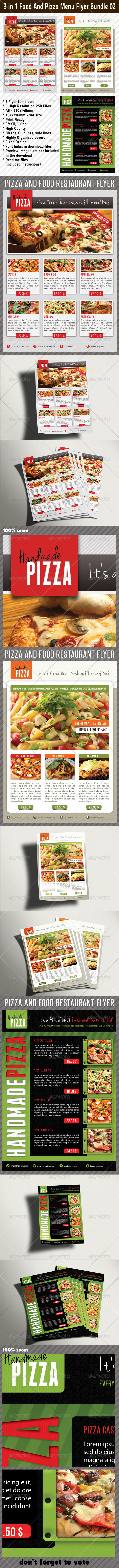 3 in 1 Food And Pizza Menu Flyer Bundle 02 - Restaurant Flyers