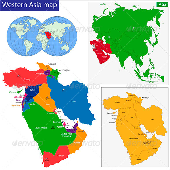 Western Asia Map - Travel Conceptual