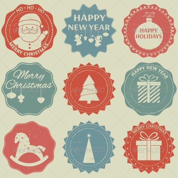 Christmas New Year Label Set - Christmas Seasons/Holidays