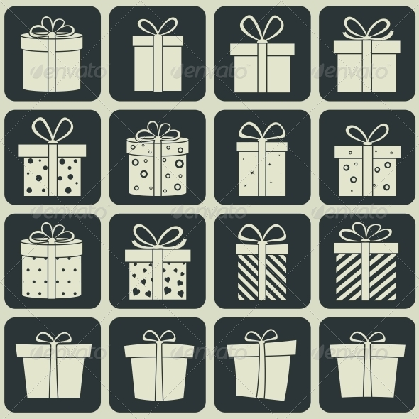 Gift Boxes Icons - Retail Commercial / Shopping