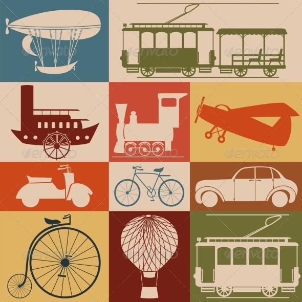 Retro Transport Icons - Travel Conceptual