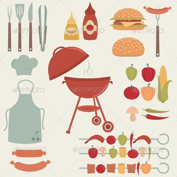 Barbecue Grill Elements - Food Objects
