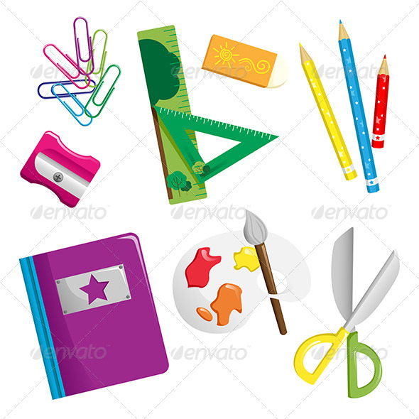 School Supplies Icons - Objects Vectors