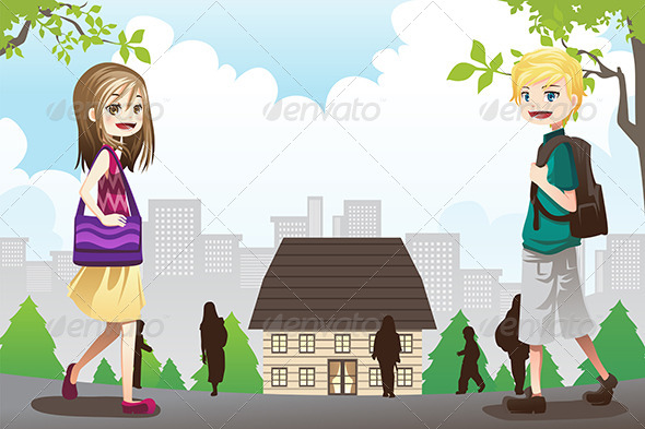 Kids Going to School - People Characters