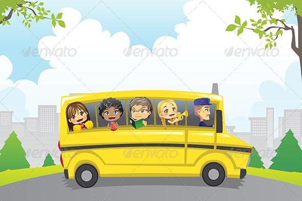 Kids in School Bus - People Characters