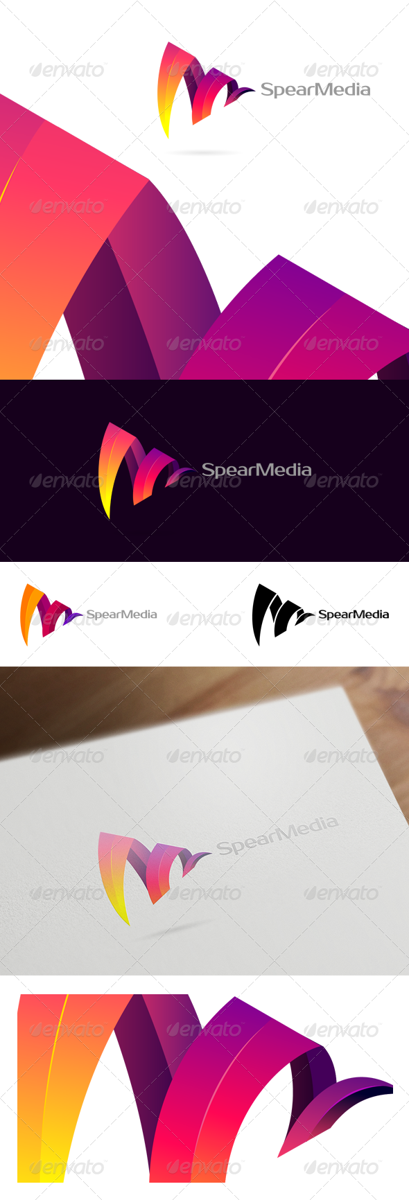Spear Media - Colorful Corporate & Creative Logo - Vector Abstract