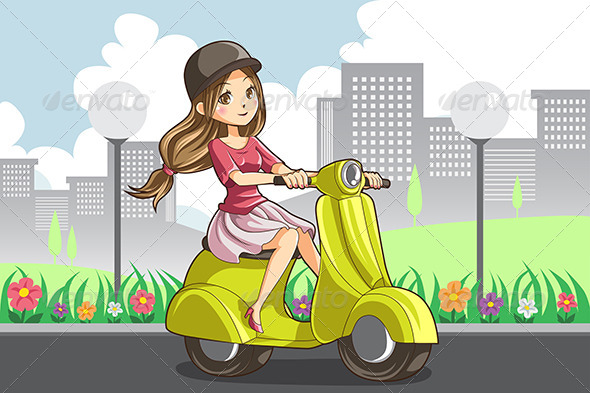 Girl Riding Scooter - People Characters