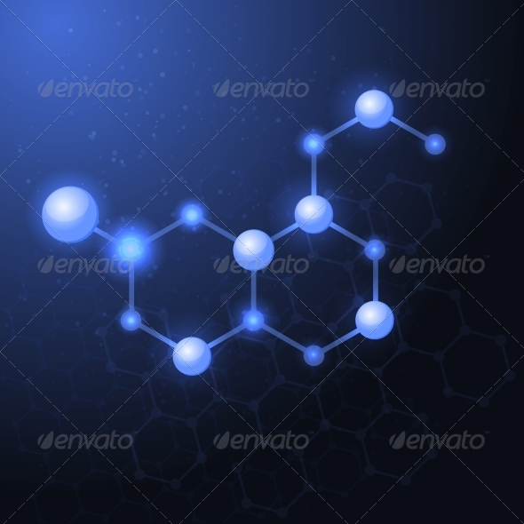 Serotonin Molecule Structure Background - Health/Medicine Conceptual