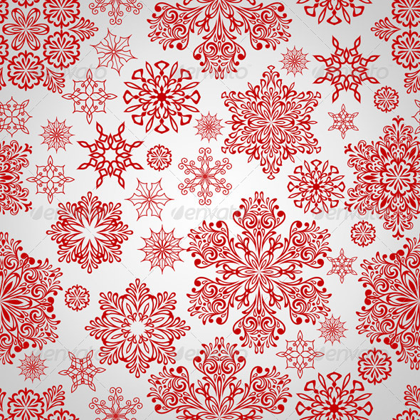 Vector Seamless Pattern with Red Snowflakes - Patterns Decorative