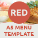 Red - A5 Menu Indesign Template - GraphicRiver Item for Sale