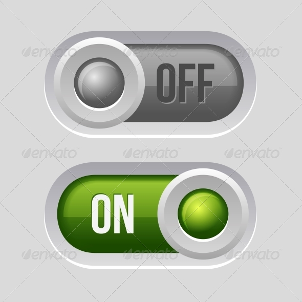 Toggle Switch Sliders On and Off Position - Web Elements Vectors