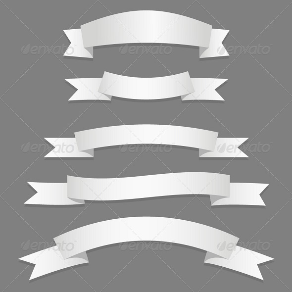 Silver Ribbons Flags - Borders Decorative