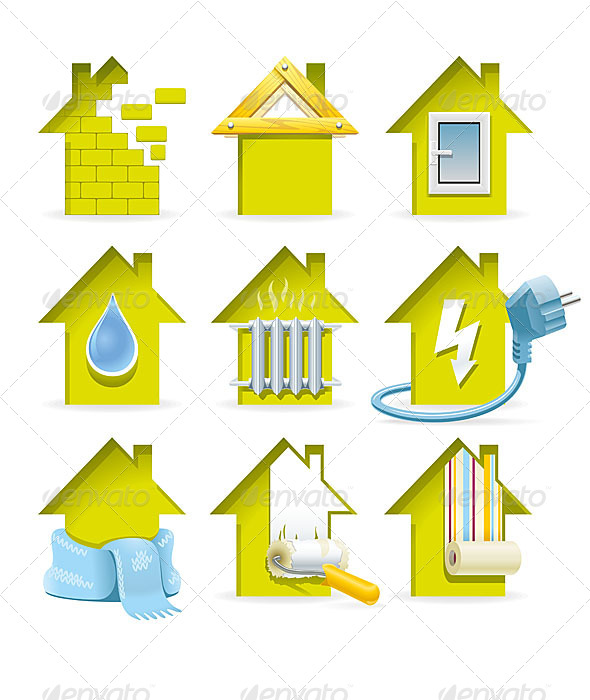 Home Construction Icons - Technology Conceptual