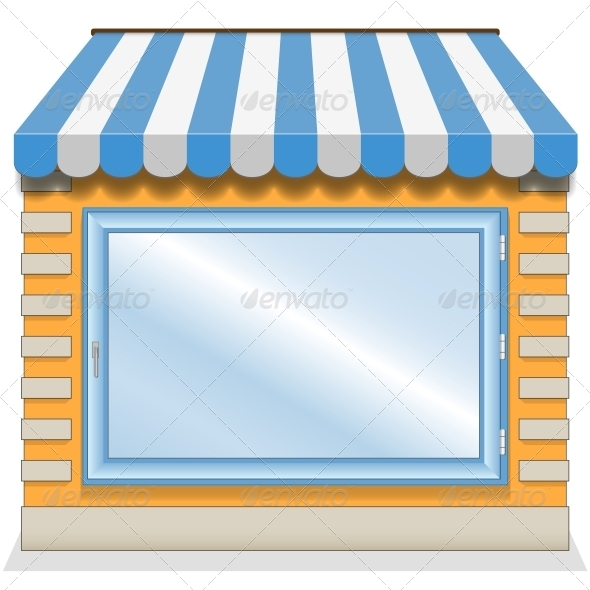 Shop Icon with Blue Awnings - Retail Commercial / Shopping