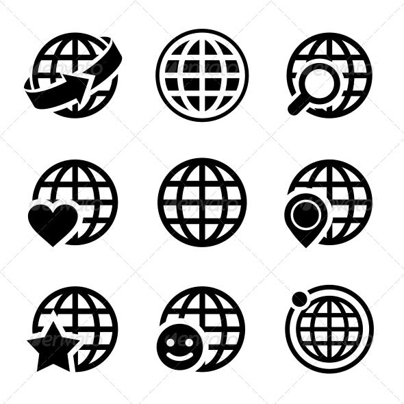 Globe Earth Vector Icons Set  - Web Icons