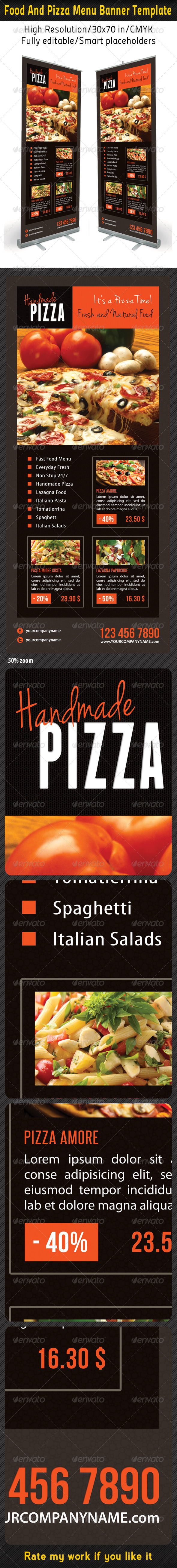 Food And Pizza Menu Banner Template 07 - Signage Print Templates