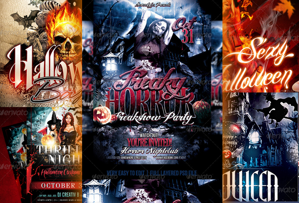 10 Scary Halloween Flyer Templates