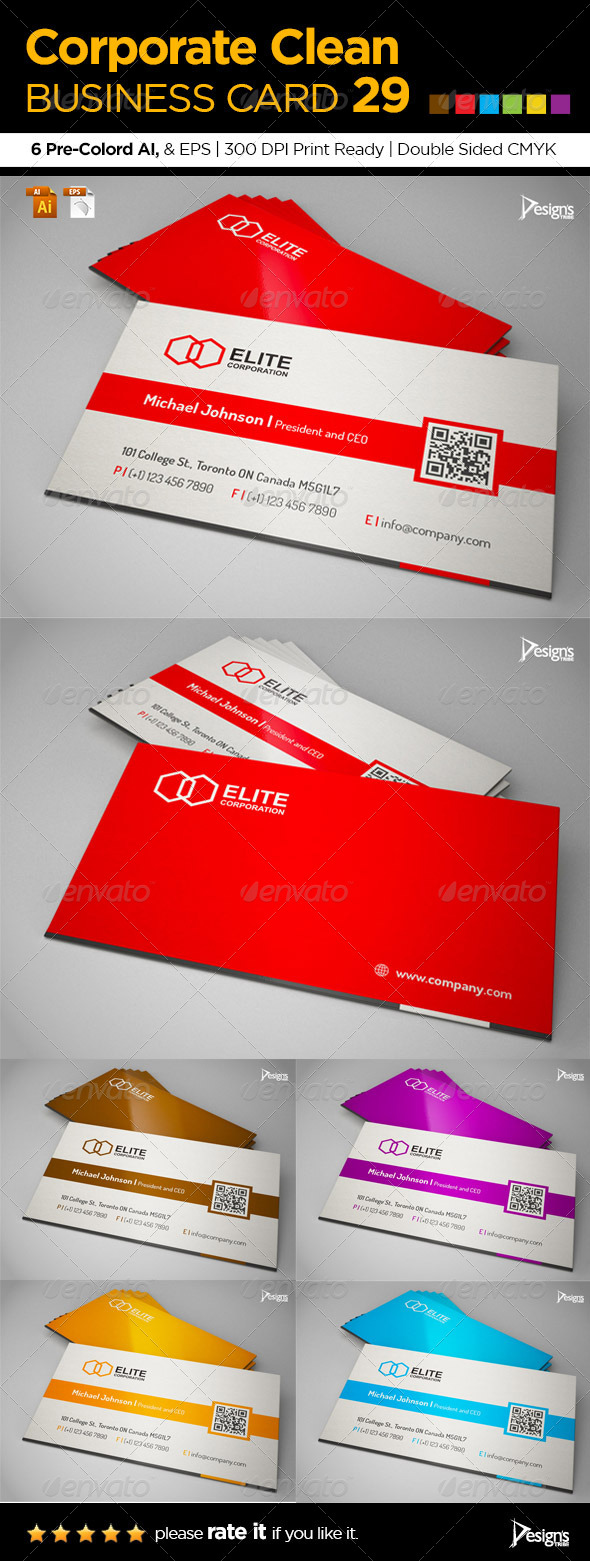 Corporate Clean Business Card 29 - Corporate Business Cards