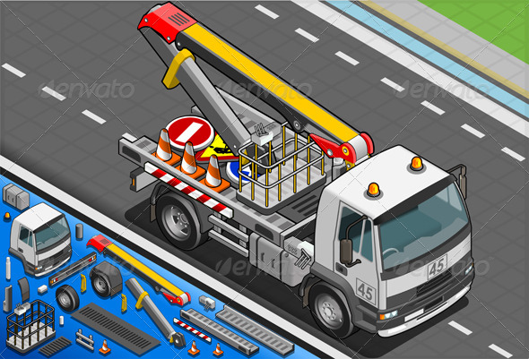 Isometric Platform Lift Truck in Front View - Objects Vectors