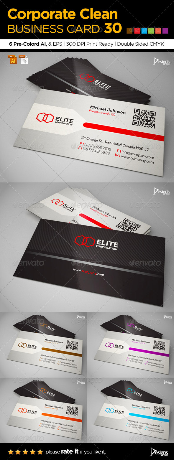 Corporate Clean Business Card 30 - Corporate Business Cards