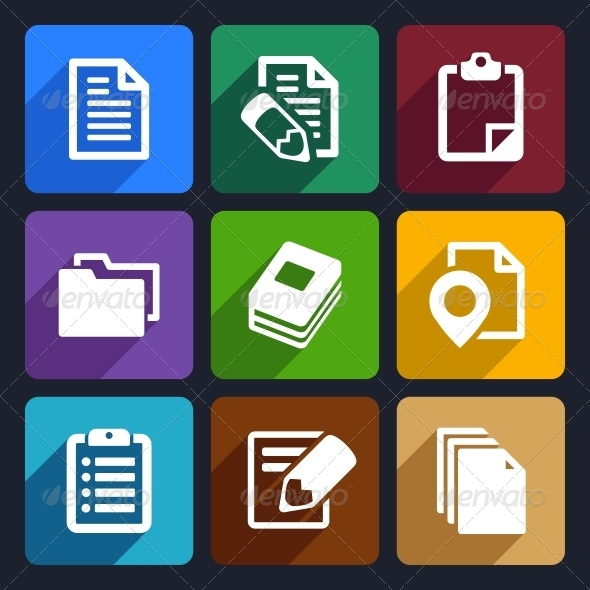 Documents and Folders Flat Icons Set 19 - Web Icons