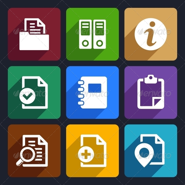Documents and Folders Flat Icons Set 20 - Web Icons