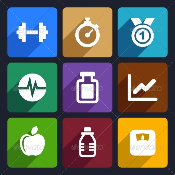 Fitness Flat Icons Set 17 - Miscellaneous Icons