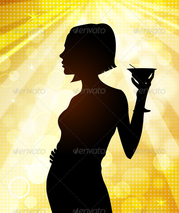 Silhouette of Young Woman at Disco - People Characters