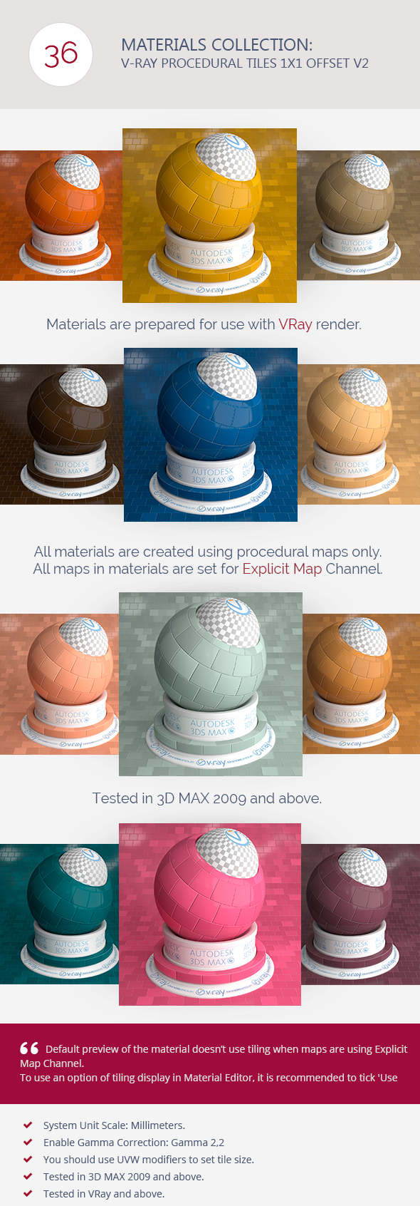 V-Ray Procedural Tiles 1x1 Offset V2 - 3DOcean Item for Sale