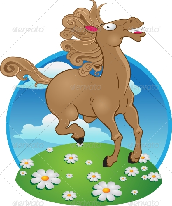 Horse on Color Background - Animals Characters