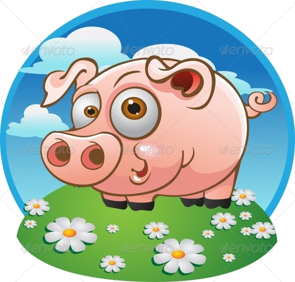 Young Pig on Color Background - Animals Characters