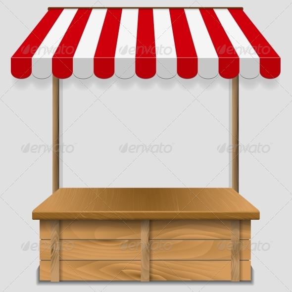 Store Window with Striped Awning  - Food Objects