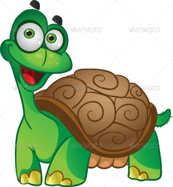 Smiling Vector Tortoise - Animals Characters