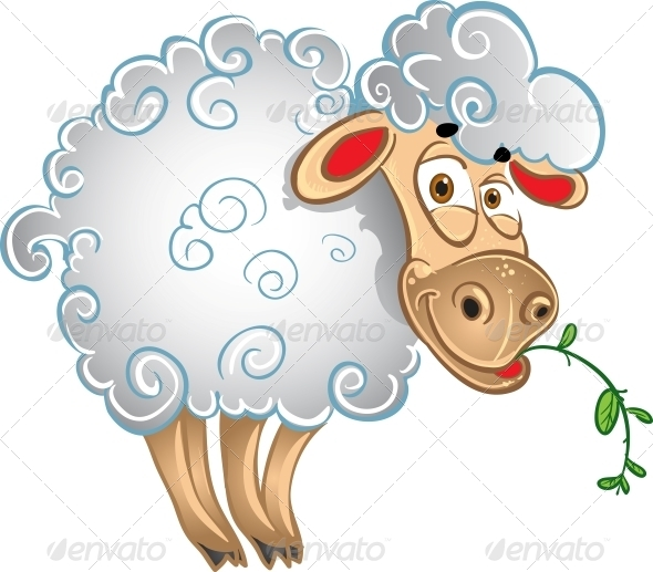 Bright Sheep with Blade of Grass - Animals Characters
