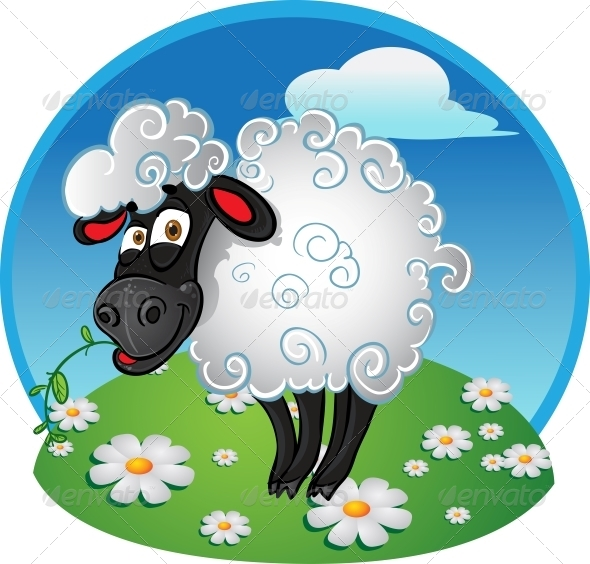 Sheep with Blade of Grass on Color Background - Animals Characters