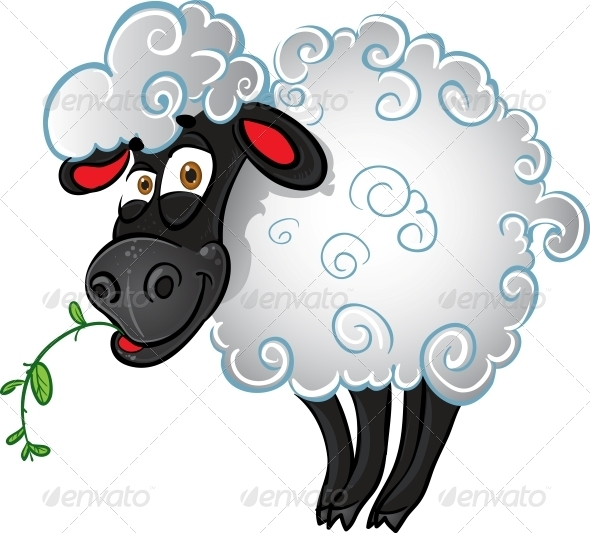 Sheep with Blade of Grass - Animals Characters