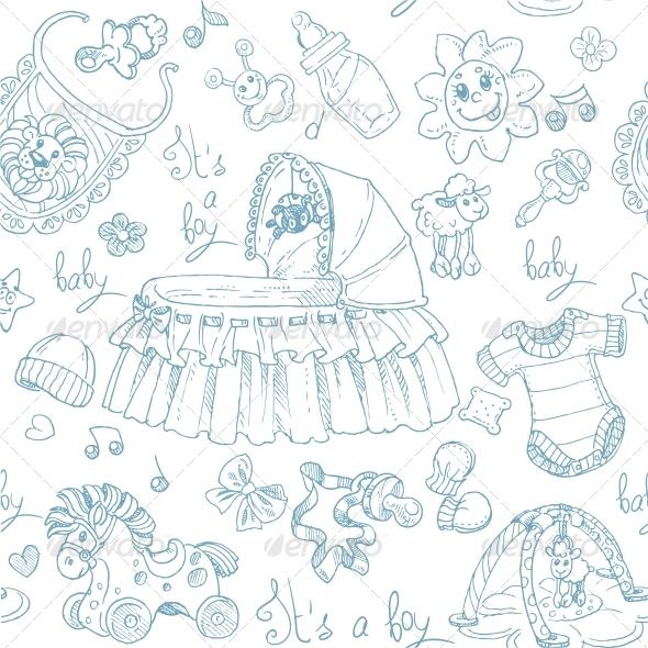 Seamless Background Baby Boy - Patterns Decorative