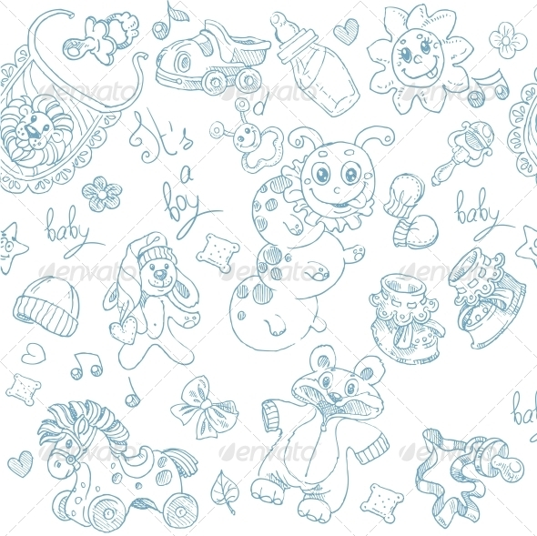 Seamless Background its a Boy with Toys - Patterns Decorative