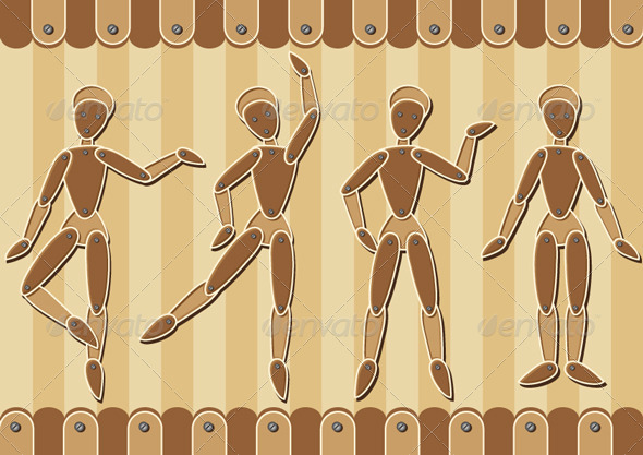 Wooden Marionettes - Man-made Objects Objects