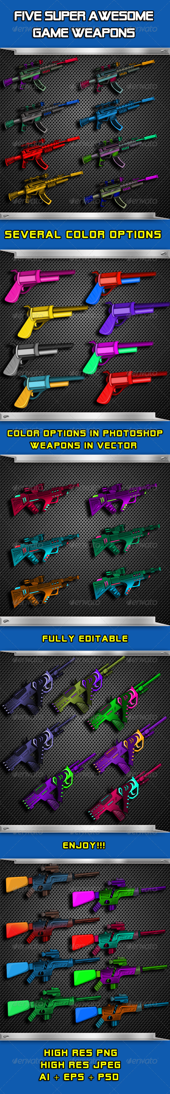 Awesome 5 Game Weapon Set - Sprites Game Assets