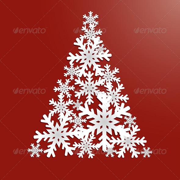 Christmas Tree with Snowflakes - Christmas Seasons/Holidays