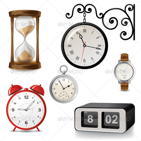 Clock Icons - Man-made Objects Objects